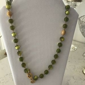 Green glass beads and gold accents necklace